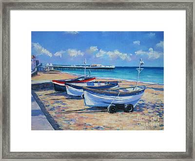 Crab Boats On Cromer Beach Framed Print by John Clark