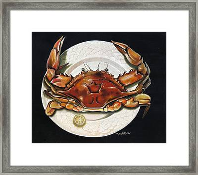 Crab  On Plate Framed Print