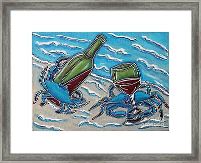 Crab Wine Time Framed Print