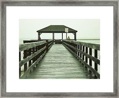 Crabbing Pier Framed Print