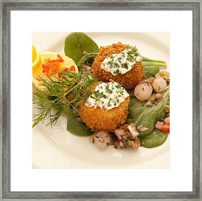 Crabcakes Framed Print by New  Orleans Food