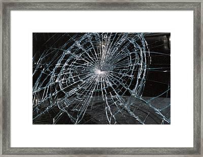Cracked Glass Of Car Windshield Framed Print
