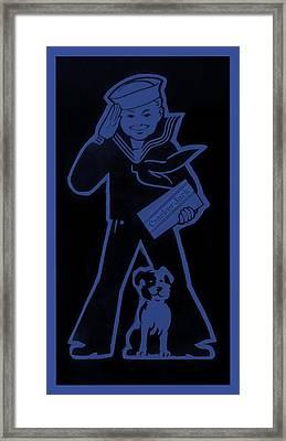 Crackejack Navy Blue Framed Print by Rob Hans