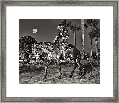 Cracker Cowboy And Full Moon Framed Print by Betty Eich
