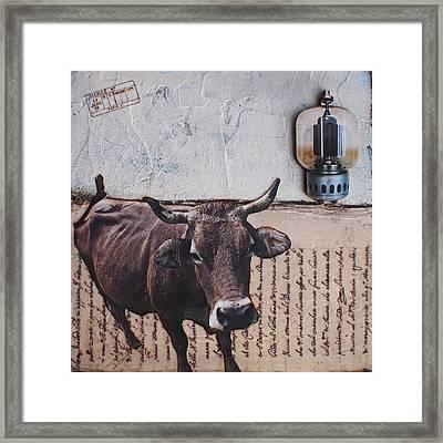 Crackle Cow Framed Print by Creartful Dodger