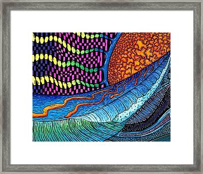 Crackle Sun Framed Print by Sam Bernal