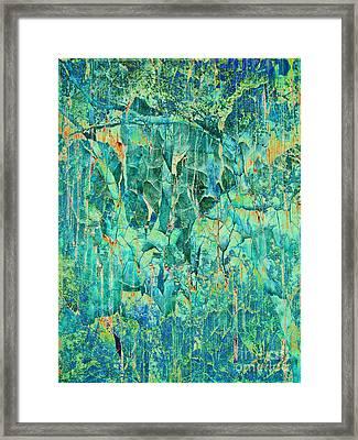 Cracks In Blue Framed Print