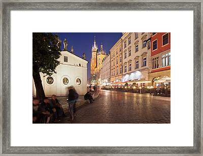 Cracow By Night In Poland Framed Print