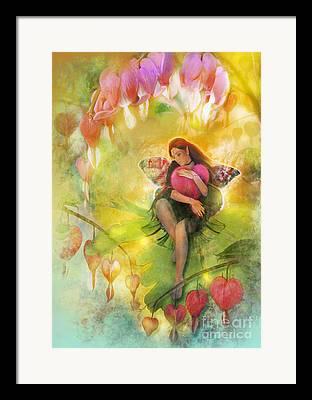 Fairy Hearts Pink Flower Digital Art Framed Prints