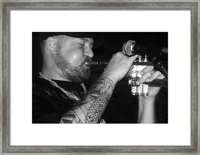 Craig Sorrells Trumpet And Tatoo Framed Print by Cleaster Cotton