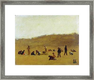 Cranberry Pickers Framed Print by Eastman Johnson