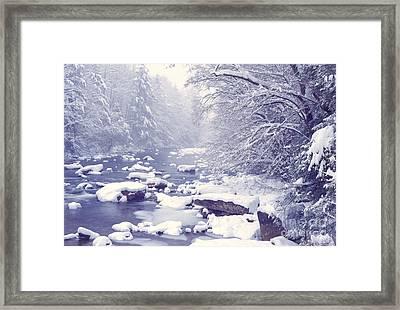 Cranberry River Heavy Snow Framed Print