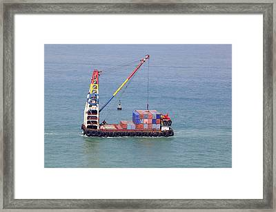 Crane Barge With Cargo Framed Print by Science Photo Library