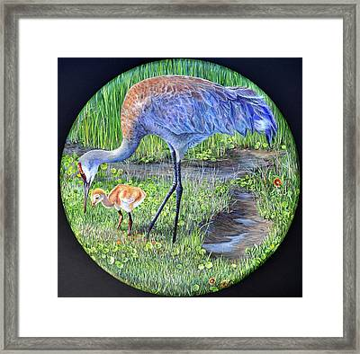 Framed Print featuring the painting Crane Circle by AnnaJo Vahle
