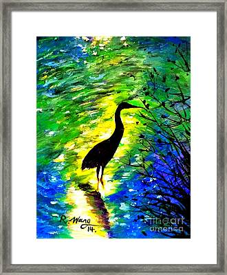 Crane In Lake Framed Print