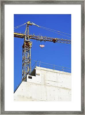 Crane On Construction Site Framed Print by Sami Sarkis