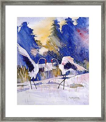 Cranes In Winter Inspired By Quan Zhen Framed Print