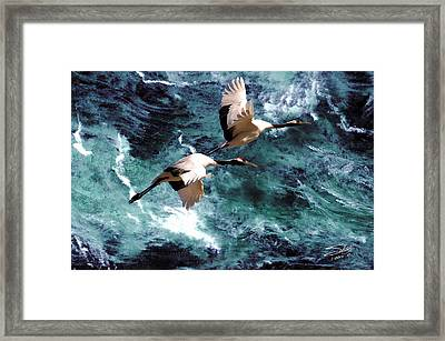 Cranes Over The Sea Of Japan Framed Print by IM Spadecaller