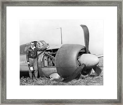 Crash Landed Airplane Framed Print