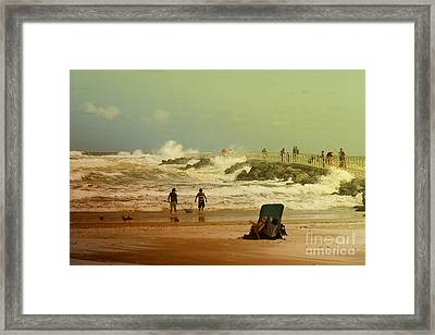 Crash Of The Waves Framed Print by Deborah Benoit