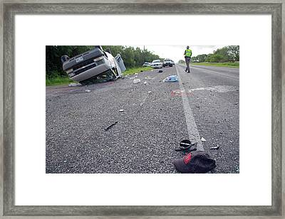 Crashed Van Framed Print