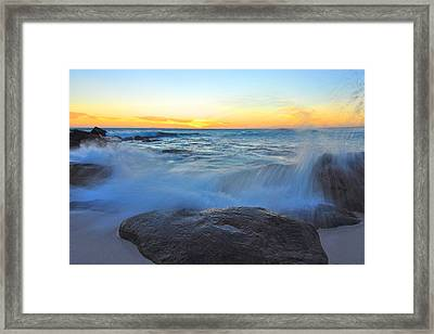 Crashing Down Framed Print by Sally Nevin