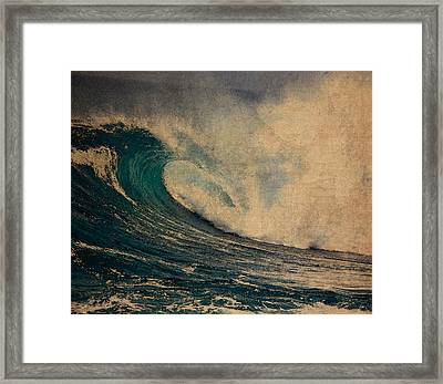 Crashing Ocean Waves Rough Seas No 1 Watercolor On Worn Parchment Framed Print