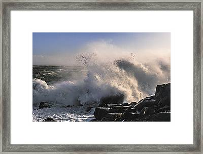 Crashing Surf Framed Print by Marty Saccone