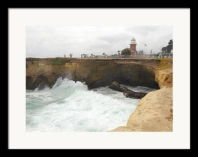Surfing In Santa Cruz Framed Prints