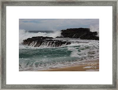 Framed Print featuring the photograph Crashing Surf by Suzanne Luft