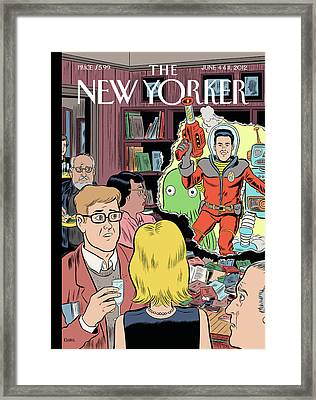 Crashing The Gate - Man In A Spacesuit Crashes Framed Print by Dan Clowes