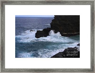 Crashing The Shoreline Framed Print by Alyce Taylor