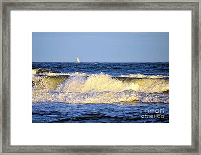Crashing Waves And White Sails Framed Print