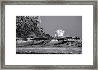 Crashing Waves At Cabrillo By Denise Dube Framed Print