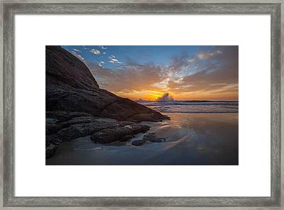 Crashing Waves At Sunset Framed Print