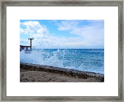Crashing Waves In Cozumel Framed Print by Debra Martz