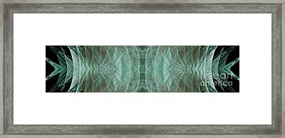 Crashing Waves Of Green 1 - Panorama - Abstract - Fractal Art Framed Print by Andee Design