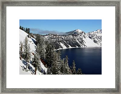 Crater Lake After Snow, Crater Lake Framed Print