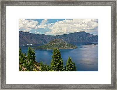 Crater Lake And Wizard Island, Crater Framed Print by Michel Hersen