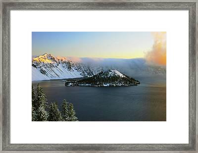 Crater Lake At Dawn, Crater Lake Framed Print