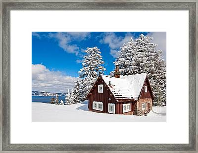 Crater Lake Home - Crater Lake Covered In Snow In The Winter. Framed Print