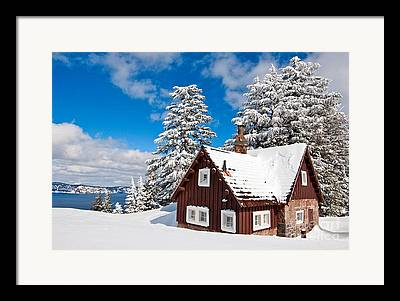 Lakeside Cabin Framed Prints