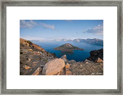 Crater Lake In The Evening Framed Print
