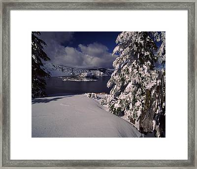 Crater Lake In Winter, Wizard Island Framed Print by Panoramic Images