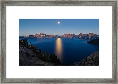 Crater Lake Moonrise Framed Print