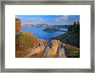Crater Lake Rim Framed Print by Inge Johnsson