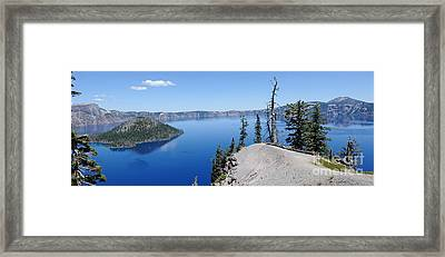 Crater Lake Scenic Panorama Framed Print by John Kelly