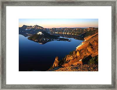 Crater Lake Sunrise Framed Print