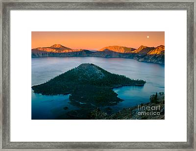 Crater Lake Sunset Framed Print by Inge Johnsson