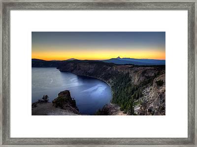 Crater Lake Sunset Framed Print